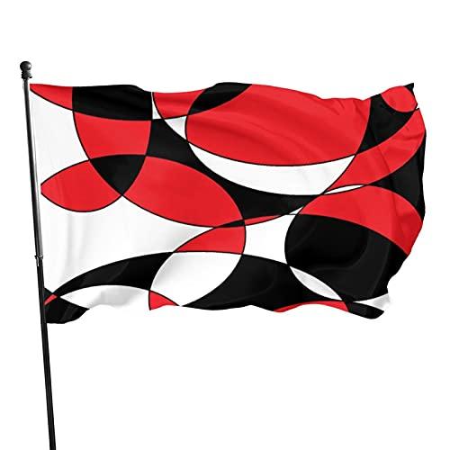Banderas elípticas negras blancas y rojas teñidas fantásticas bandera de jardín resistente a la decoloración bandera premium al aire libre para decoración interior exterior 5x3