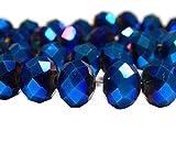Cuentas checas de cristal de Bohemia facetadas y redondas, tamaños de 4/6/8/10 mm, colores a elegir, cristal, Color azul metalizado pulido a fuego., 6x4 mm