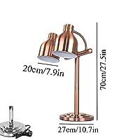 DAGCOT 食品断熱ランプシングル/ダブル球根ビュッフェ彫刻駅のランプ表示暖房保全ライト、ポータブル250ワットヒートランプ (Color : Copper, Size : Double head)