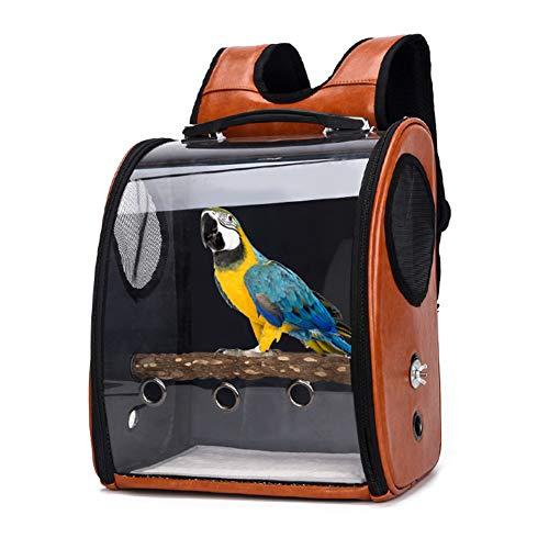 JYT Pet Parrot Träger Vogel Reisetasche, Doppel Öffnen Reißverschluss Vogel Travel Cage, Haustier Raumkapsel, Transparent atmungsaktiv 360 ° Sightseeing 33 X 38 X 17 cm,Braun