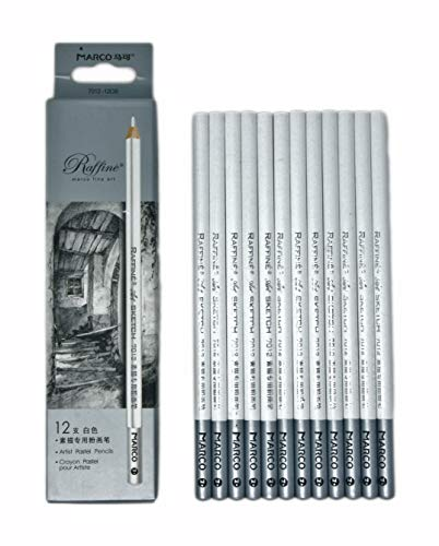 12pcs/pack Artist Charcoal Pencils - Black Color Soft Medium Hard - White Pastel Color - Black Charcoal White Pastel Drawing Pencils (White Pastel)