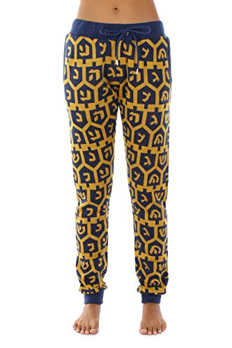 Tipsy Elves Women's Sweatpant Joggers - All Over Blue and Yellow Dreidel Print Size Small