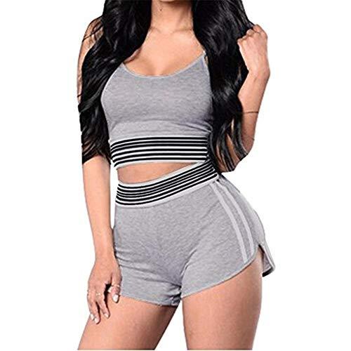 Discountl Damen-Sportbekleidung, Sweatshirt, lässig, grau, XXL-Anzug, sexy Streifen, sexy, Fitness, Laufen, Outdoor, Sport, Weste, Shorts, Sportanzug Gr. 48, grau