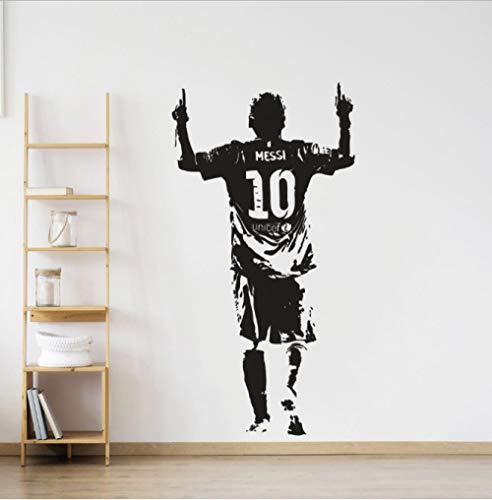 YYNIGHT Art Wall Sticker Soccer Player Wall Decal Messi Soccer Star Removable Wallpaper Messi Wall Murals(42x81cm)