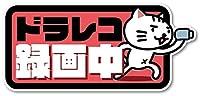 Isaac Trading ドライブレコーダー録画中 ステッカー 猫イラスト シール ドラレコ 耐水・耐候 148x67mm (ピンク)