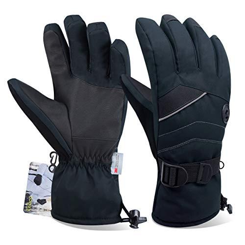 Opard Handschuhe Skihandschuhe Winterhandschuhe Thermohandschuhe extrem warm wasserdicht Winddicht rutschfest atmungsaktiv für Herren und Damen (Schwarz, XL)
