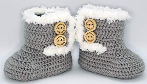 Scarpine neonato all'uncinetto, unisex. Stivali in stile Canada di colore da scegliere, realizzati in lana, taglie da 0 a 9 mesi, fatti a mano in Spagna. Regalo del bambino