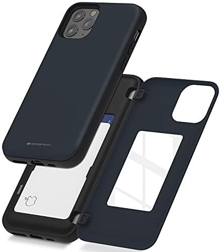 Goospery - Funda tipo cartera para iPhone 12 Pro Max con tarjetero, protector de doble capa (azul medianoche), IP12PM-MDB-NVY