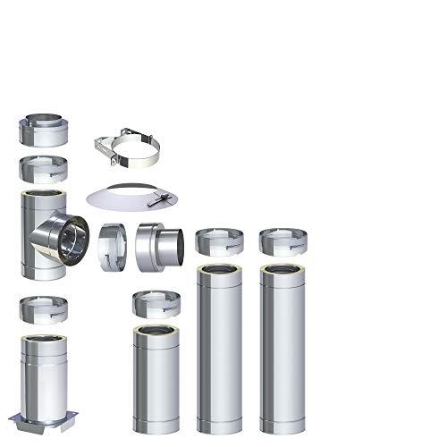 H&M DW New-Line Schornstein-Paket 3,7m Ø 120mm Edelstahl Bausatz doppelwandig 25mm Isolierung 0,5mm Wandstärke Design Aussen-Kamin Set Holz-Ofen Kamin-Einsatz