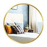 GROOFOO Espejo Redondo con Marco Dorado, 60CM Espejo de Pared para Sala de Estar Entrada Dormitorio Baño Espejo de Decoración Espejo de Vanidad (Dorado 60cm)