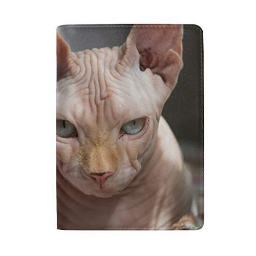 Sphynx Reisepasshülle mit Katze, haarlos, aus Leder, für Damen und Herren, personalisierbar