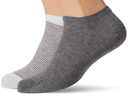 Living Crafts Sneaker-Socken, 2er-Pack 39/42, stone grey melange/white