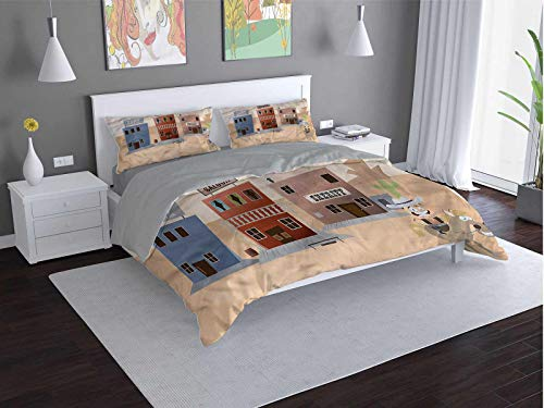 Toopeek Western 3-pack (1 duvet cover and 2 pillowcases) Comic-Sheriff-Office-Bank Polyester (Queen)