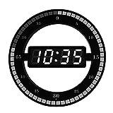 DONG 12In Fashion LED Round Reloj de Pared Digital Creativo Reloj Redondo Simple Mute