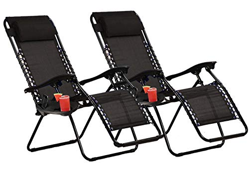 KEPLIN Set of 2 Heavy Duty Textoline Zero Gravity Chairs | Garden Outdoor Patio Sun Loungers | Folding Reclining Chairs | Lounger Deck Chairs (NAVY)