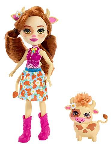 Enchantimals Cailey Cow y Curdle, muñeca con mascota (Matte