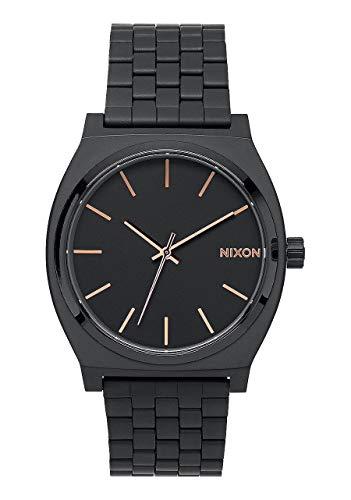 Nixon Time Teller, Nixon Reloj Negro con marcadores de la Hora Bronce Dorado