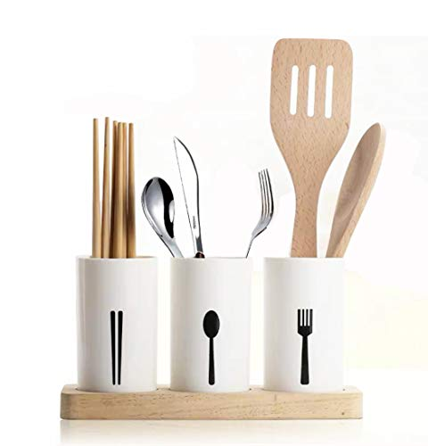 3 Pcs Flatware Caddy Holder Utensil Drying Rack Basket Cutlery Holder with Wood Base for Bar Kitchen Countertop Storage Organize Forks Knives Spoons