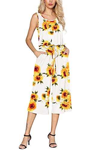 Euovmy Women's Sleeveless Round Neck Elastic Waist Floral Printed Long Romper Jumpsuit with Pockets Sunflower White Medium