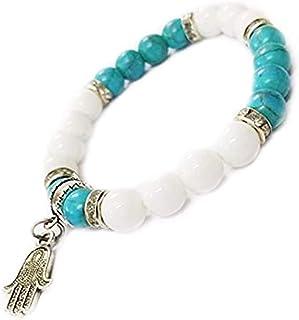 REBUY Firoza/Turquoise & White Hakik Agate Stone Bracelet with Hamsa Palm Hand For Unisex