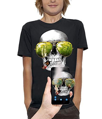 PIXEL EVOLUTION Maglietta 3D Cranio SIGARI E Occhiali da Sole in Realtà Aumentata Bambino - Taglia 9/11 Anni - Nero