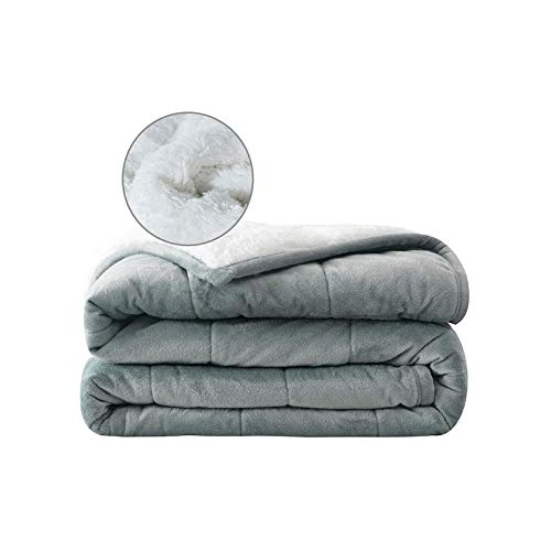 """Syrinx Adult Weighted Blanket 20 lbs Queen Size 60""""x80"""" Dark Grey/White Throw Adults Blanket with Glass Beads"""