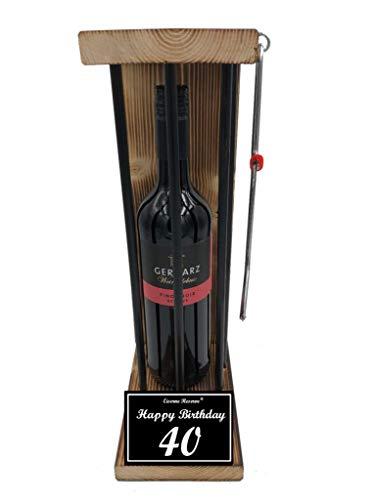 * Happy Birthday 40 Geburtstag - Eiserne Reserve ® Black Edition Rotwein 0,75L incl. Säge zum zersägen der Stäbe - Die lustige Geschenkidee - Weingeschenk
