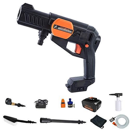 KKTECT Pistola de lavado a presión,20 V 3000 mAh, inalámbrica, manguera de lavado a presión,boquilla 5 en 1 para lavado de autos,limpiador de superficies portátil para trabajos más pequeños, limpieza