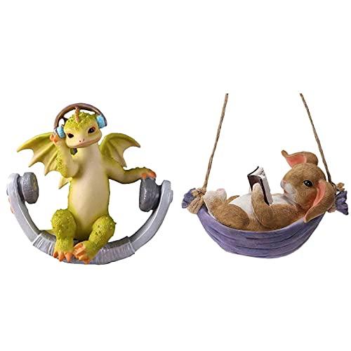 ERZHUI 2 Piezas Columpio Lindo Animal de simulación Impermeable Estatua de Resina, Creativo Realista Animal Columpio Figura, Colgante Perro Gato búho Koala Conejito dragón Escultura Adorno para Gard
