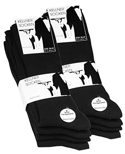 VCA Original schwarze Herren Kellnersocken, Baumwolle, Spitze Handgekettelt, 1:1 Rippe, 10 Paar, 43/46