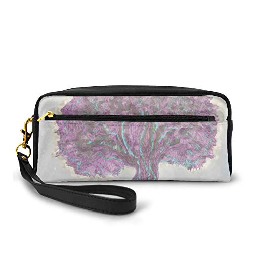 Pencil Case Pen Bag Pouch Stationary,Watercolors Style Print of Old Plant with Bokeh Lights Majestic Roots Nature,Small Makeup Bag Coin Purse