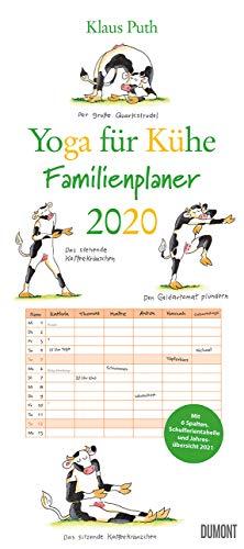Yoga für Kühe Familienplaner 2020 – Wandkalender – Familien-Kalender mit 6 Spalten – Format 22 x 49,5 cm