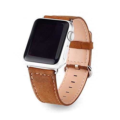 Cuero Correas Compatible con Apple Watch 38mm/40mm 44mm/42mm, Ajustable Banda Correa Deportivo Pulseras de Repuesto para iWatch Series 6/5/4/3/2/1/SE Mujer y Hombre, marrón (Size : 38/40mm)