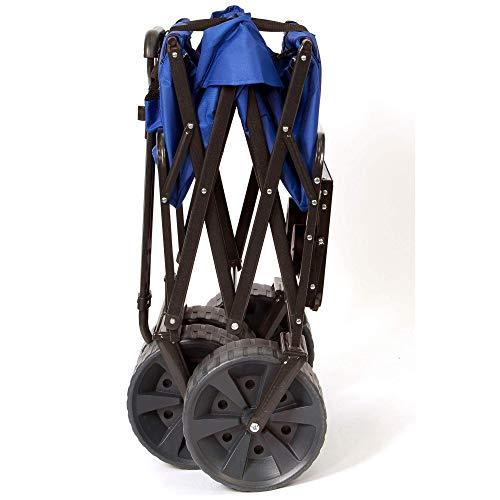 Mac Sports Heavy Duty Steel Frame Collapsible Folding 150-Lb Capacity Outdoor Beach Garden Utility Wagon Cart with 4 All Terrain Wheels & Table, Blue