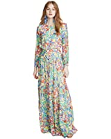 SALONI Women's Isabel Long Dress, Summer Confetti, Yellow, Floral, 0