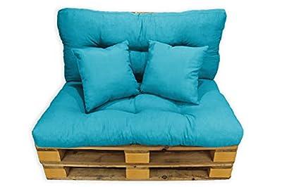 Sofa relleno de espuma picada para palets + 2 cojines ideal para interior y exterior. En especial jardines, terrazas o balcones. Otorga un toque alegre y moderno donde podrás disfrutar de la mayor comodidad en tu momentos de relajación.Contamos con v...