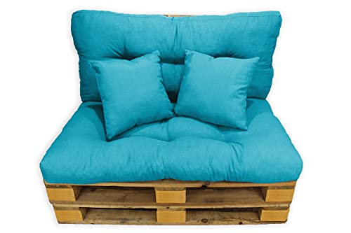 Conjunto 4 Piezas Sofá Palets, Asiento Palet 120x80 cm + Respaldo + Dos Cojines. Cómodo y Elegante para Interior y Exterior (Azul)