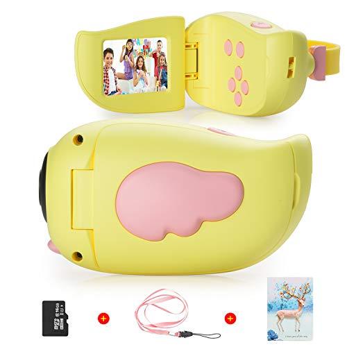 Vannico Fotocamera per bambini, schermo HD da 2,0 pollici, 8 MP, registrazione, scheda 16G TF, 5 giochi, regali Fotocamera digitale per bambini 3-8 anni, Videocamera Ragazzo da 3 a 10 anni (Giallo)