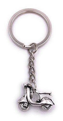 H-Customs Motorroller Roller Schlüsselanhänger Anhänger Silber aus Metall
