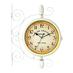 MTime Vintage Double Sided Rotatable Wall Clock, Vintage 8 Inch Clock Simple Arabic Numerals Quartz Wall Clock for Hall Foyer Gate-White