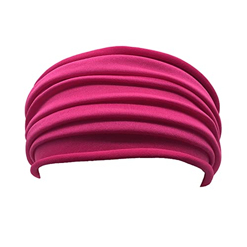 PPLAX Yoga Stirnband Mode Frauen Stirnband Sport Zubehör Weiche elastische Weit Yoga Kopf Wrap Weiche Röhrchen Haarband Feste Farbe Yoga Haarbänder (Color : Rose)