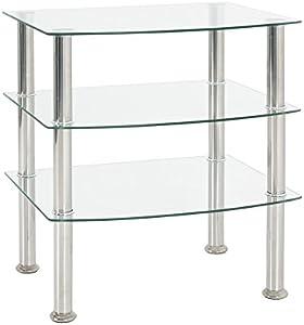 Haku Moebel - Mesa Auxiliar, Acero, Acero Inoxidable/Cristal Transparente, 45x 54x 61cm