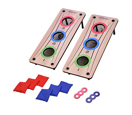 GoSports 2-in-1 Bean Bag Toss and Washer Toss Combo Outdoor Game - Fun for Kids and Adults - Includes 2 Double Sided Game Boards, 6 Washers, 6 Bean Bags, and Carry Case