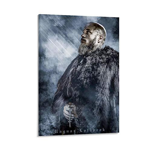 rongtao Ragnar Lothbrok Vikings - Póster de lienzo y pared con impresión moderna para dormitorio familiar (60 x 90 cm)
