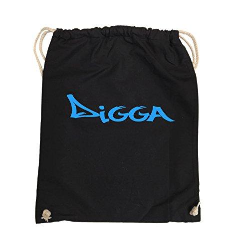Comedy Bags - Digga im Graffiti Style - Turnbeutel - 37x46cm - Farbe: Schwarz/Blau