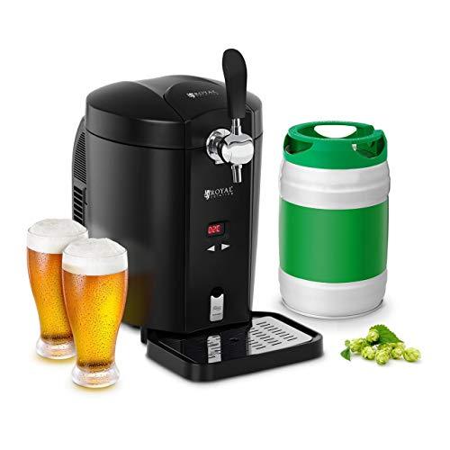 Royal Catering Spillatore Birra Erogatore Birra con Raffreddamento Spina RCBD-5LB (5 l, 2-12 °C, 38 dB, 65 W, Schermo LED, Fusto 5 litri)