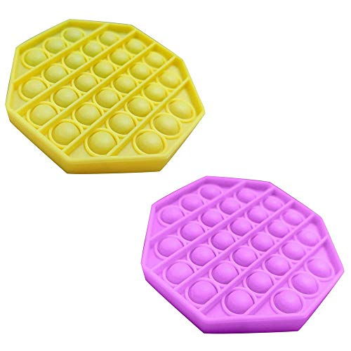 Push Pop Pop Bubble Sensory Fidget Toy, Paquete de 2 Juguetes de Silicona para aliviar el estrés con Necesidades Especiales de Autismo, Juguete sensorial para a