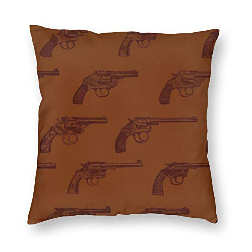 antkondnm Western Revolvers Throw Pillow Cover Pillow Case Square Cushion Cover for Sofa Couch Home Car Bedroom Living Room 18' x 18'