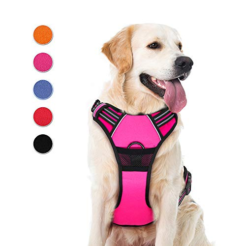 Supet Dog Harness, No Pull Dog Harness Puppy Harness Front Clip Pet Vest Harness with Handle Adjustable Dog Padded Harness 28M Reflective Oxford Comfortable Dog Harness for Outdoor Training Walking