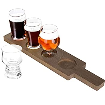 MyGift 5-Piece Variety Craft Beer Tasting Flight Set with 4 Glasses & Wood Paddle Serving Tray Each Glass Holds 5 oz